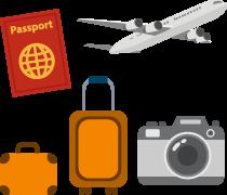 海外旅行の持ち物のイラスト