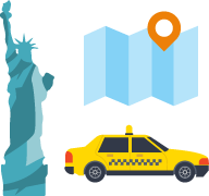 自由の女神・地図・タクシーのイラスト