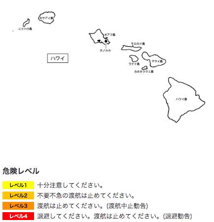 外務省の発表によるハワイの治安状況